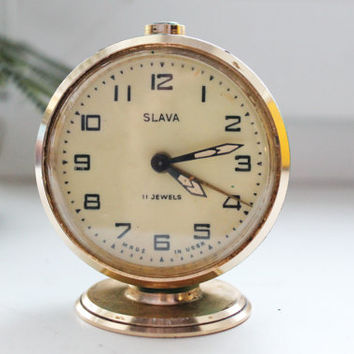 SLAVA - Shabby chick vintage Mechanical alarm clock from USSR era - 1970s - Soviet alarm clock