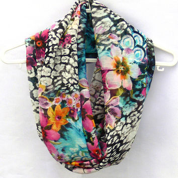 Floral Infinity Scarf. Spring Circle Scarf. Women Accessories. Loop Scarf, Tube Scarf