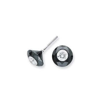 14K White Gold 6.50ct. Black and White Diamond Stud Earrings  H/I1 Quality  Quality