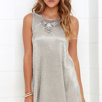No Less Than Luminous Gold Swing Dress