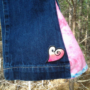 3T Blue Jean Bell Bottoms with Pink flares and Tie Dye Patches - Girls Toddlers - Handmade by The Hippie Patch