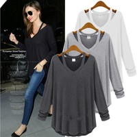Miranda Top - Fashion Women's Long Sleeve Loose Blouse Casual Shirt Summer Tops T-Shirt