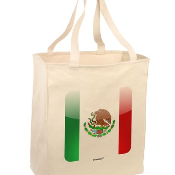 Mexican Flag App Icon Large Grocery Tote Bag by TooLoud
