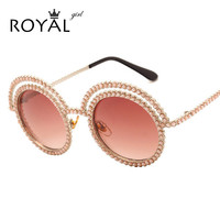 Pretty Lovely Women Pearl Sunglasses Metal Round Unique Frames Sun glasses Shades ss677