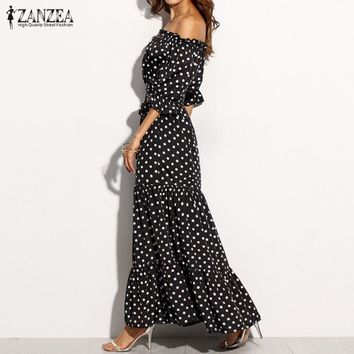 Sexy Off Shoulder Slim Drawstring Maxi Dress