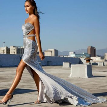 Sequin Goddess Cut Out Silver Maxi Dress