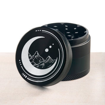 Laser engraved herb grinder | Space Mountains by Topboro