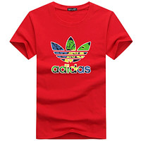ADIDAS 2018 new men's tide brand classic big logo printing round neck T-shirt F-A000-PPNZ Red