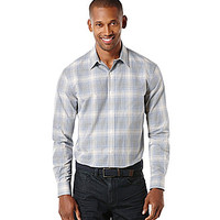 Perry Ellis Long-Sleeve Plaid Check Ombre Woven Shirt - Sodalite