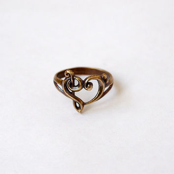 Music heart Ring Metal Brass Casting Ring Size 7,5