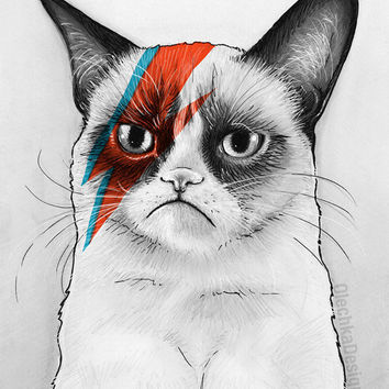 Grumpy Bowie Cat Giclee Fine Art Print, Geek Home Decor, 5x7
