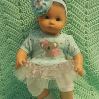 "15 inch Baby Doll ""One Kuddly Koala"" doll outfit Will fit Bitty Baby® Bitty Twins®  dress shorts socks headband L7"