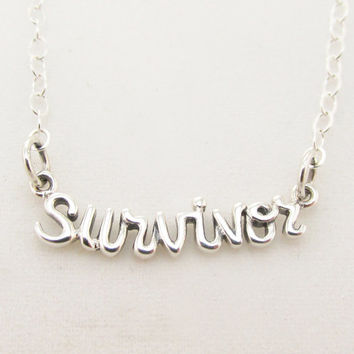 Cursive Survivor Word Necklace in Sterling Silver on 16, 18, 20 Inch Cable Chain, Word Jewelry, Inspirational and Encouraging, Everyday Wear