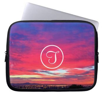 Pink sunrise photo custom monogram laptop sleeve