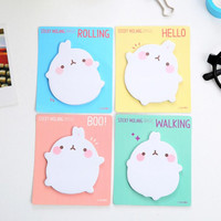 Cute Molang Rabbit Self-Adhesive Memo Pad Sticky Notes Sticker Label Escolar Papelaria School Office Supply