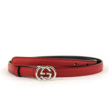 Gucci Women's Red Skinny Thin Belt with Silver Interlocking G Buckle 370552 6523