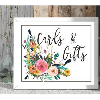 wedding sign, digital download, cards and gifts print, wedding reception signage, wedding printable, reception decoration, gift table prints
