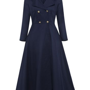 Chicloth Dark Blue Double Breasted Lapel Long Sleeve A-Line Dress