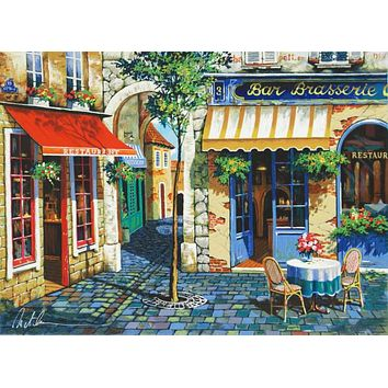 Cafe in Provence - Limited Edition Lithograph on Paper by Anatoly Metlan