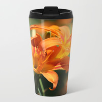 Day Lily Dance Metal Travel Mug by Theresa Campbell D'August Art