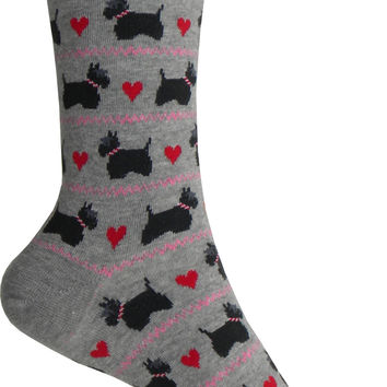 Scottie Dogs Crew Socks in Gray Heather