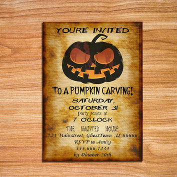 Pumpkin Carving Party Invitation Halloween Party Invitation Vintage Style Printable Halloween Invite Adult Halloween Editable MSWord Doc DIY