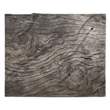 "Susan Sanders ""Tree Bark"" Brown Wooden Fleece Throw Blanket"