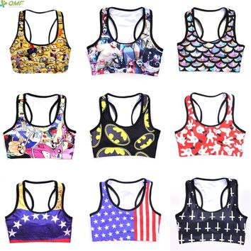 Adventure Time Sports Bras Women Batman Bras Wonder Woman Tank Yellow Minions Vest Fitness USA Flag 3D Print Cartoon Gym Tops