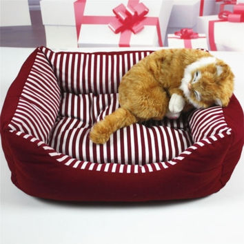 Pet Bed Soft Warm Dog Cat Kennel Striped Canvas Pad House Cozy Beds Puppy Cotton = 1697508996