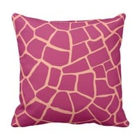 Reddish Pink Giraffe Skin Pattern Throw Pillow