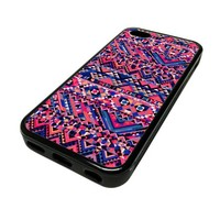 Apple iPhone 5C 5 C Case Cover Rad Hipster Crosshatch Multicolor DESIGN BLACK RUBBER SILICONE Teen Gift Vintage Hipster Fashion Design Art Print Cell Phone Accessories