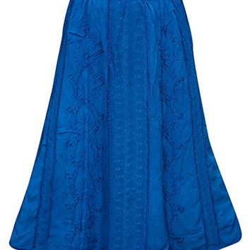 Women's Fashion Skirt Blue Embroidered Summer Boho Chic Hippie Skirts