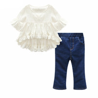 Girls Flare Sleeve 2 Piece Long Pants Outfit - 2T To Size 7