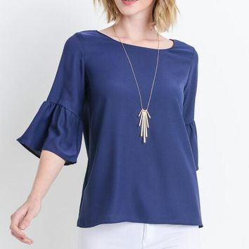 Bell Sleeve Navy Shirt