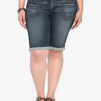 Torrid White Label Bermuda Short - Dark Wash with Square Pockets