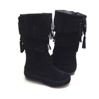 Black Fringe Boot for Girls