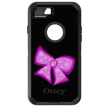 DistinctInk™ OtterBox Defender Series Case for Apple iPhone / Samsung Galaxy / Google Pixel - Pink Black Bow Ribbon