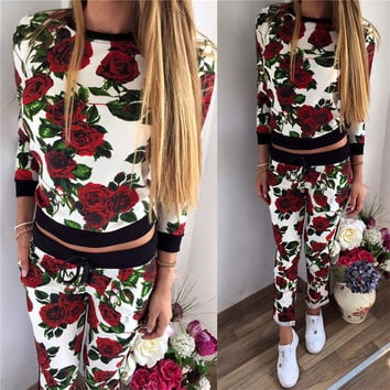 Scoop Long Sleeves Sweatshirt Drawstring Pants Flower Print Activewear Set