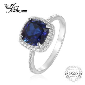 JewelryPalace Classic 3.3CT Cushion-Cut Blue Created Sapphire Wedding Engagement Anniversary Ring For Womne S925 Sterling Silver