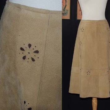 Vintage 70s Fawn Suede Cut Out Skirt