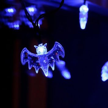 20 Bat Lights Halloween Decoration Battery Operated LED Fairy String Lights Lights Blue 2018 Halloween