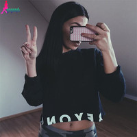 Gagaopt 2017 Autumn Womens Hoddies Sexy Crop Top Knitted Cotton Letter Printed Pullovers Long-Sleeve Harajuku Punk Tops T0848