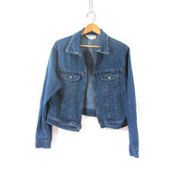 Vintage dark wash jean jacket. Denim jean jacket with zipper