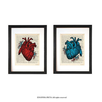 Anatomical heart set of 2 prints-Anatomy heart art-valentines gift-dictionary heart print-Anatomy wall art-medical decor-couples gift-DP236