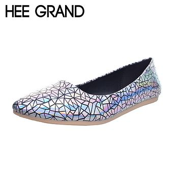 HEE GRAND Women Flats Fashionable Printing Plus Size 34-45 Spring Summer England Style Loafers Flat with Shoes Woman XWD5080