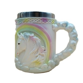 Stainless Steel Inner Layer + Silicone Outer Layer Mug Wine Goblet Unicorn Pattern Coffee Tea Mug Cup Bar