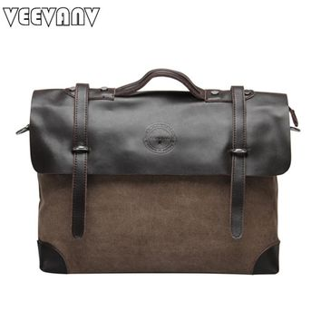 VEEVANV Vintage men's messenger bags 2017 new shoulder canvas crossbody bags briefcase handbags for man tote men's travel bags