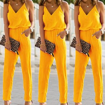 Women  Elegant Bodycon Spaghetti Strap Cotton Jumpsuits Playsuits Sexy Backless Sleeveless Beep V-Neck Camisole Summer Romper