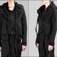 Women's BLACK Short Hoodie / Asymmetric Raw Cut Seam Detail Sweaters Hoodie 2016 / Zipped Side Pockets  - Bottom Drawstrings
