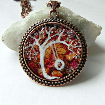 "TREE Pendant Necklace Hand Painted Abstract Eggshell Mosaic Copper 24"" Rolo Chain"